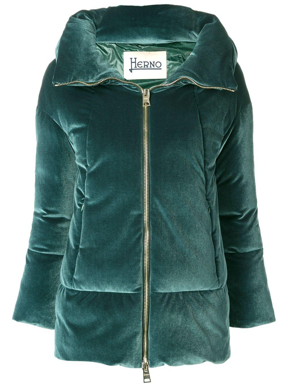 Herno Velvet Puffer Jacket In Green