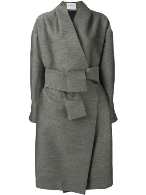 Poiret Pleated Belted Coat - Grey