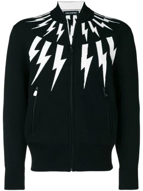 Neil Barrett Lightning Bolt Zip-up Jumper - Black