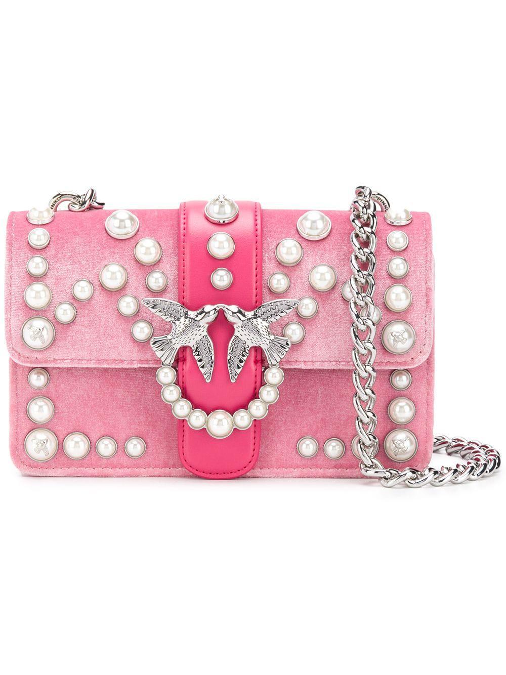 Pinko Pearl Embellished Crossbody Bag
