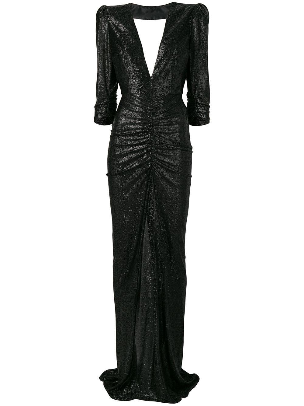Elisabetta Franchi Glitter Fitted Dress - Black