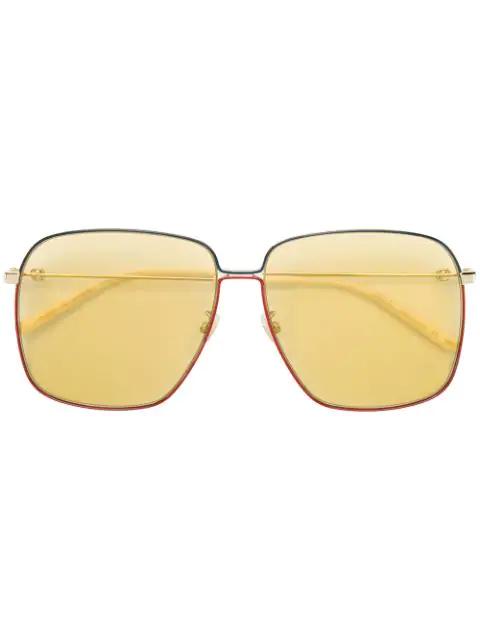 Gucci Oversized Square Glasses In Metallic