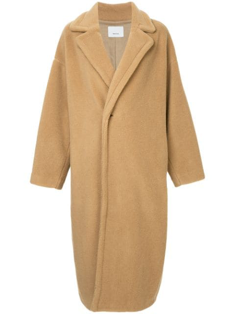 08sircus Single Breasted Oversized Coat - Brown