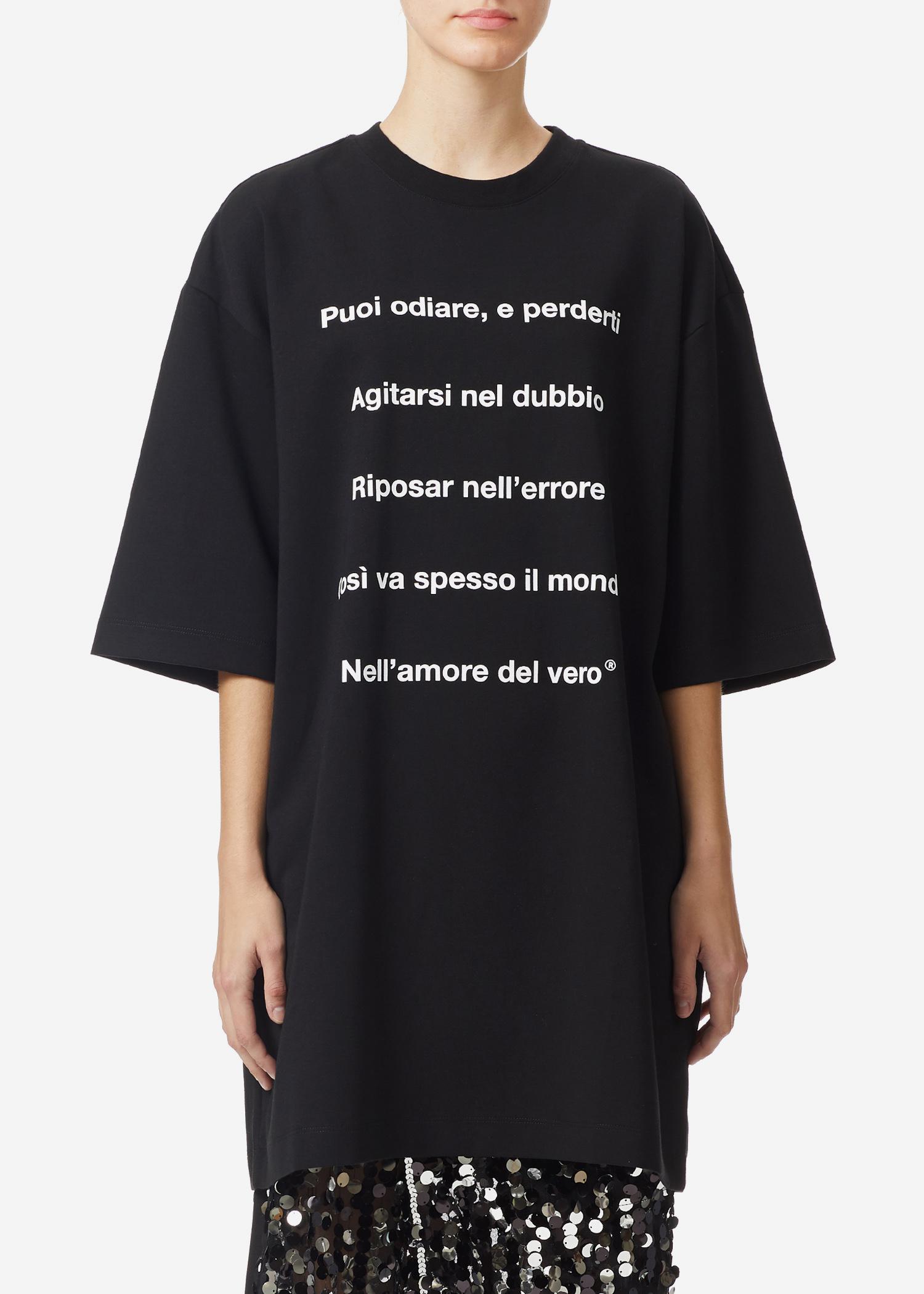 Msgm Letter Print Long T-shirt In Black