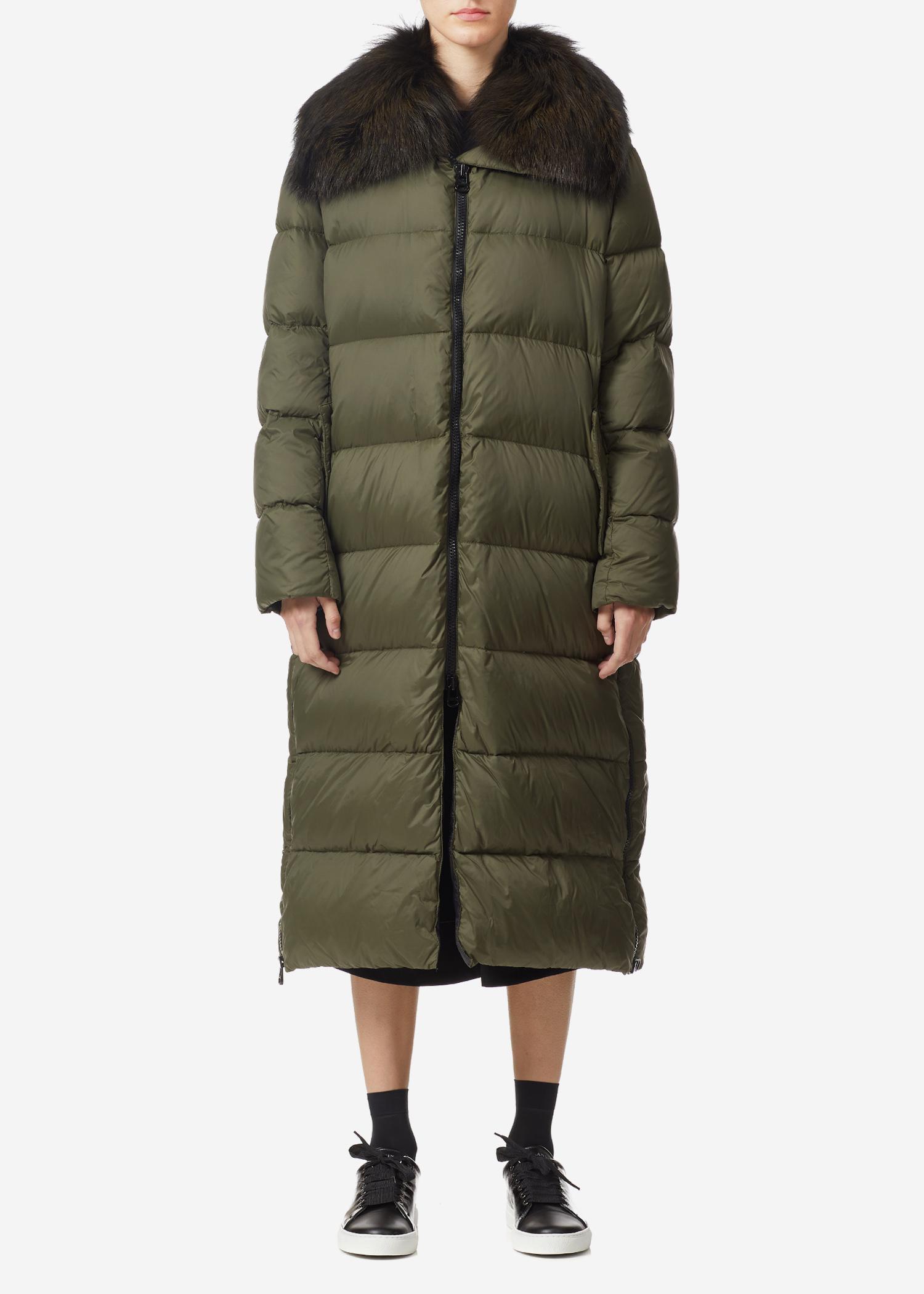 Yves Salomon Ultra Light Padded Long Jacket W/ Fox Fur Collar In Herbal Tea