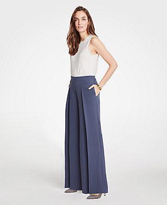 Ann Taylor Doubleweave Wide Leg Pants In Midnight Sapphire