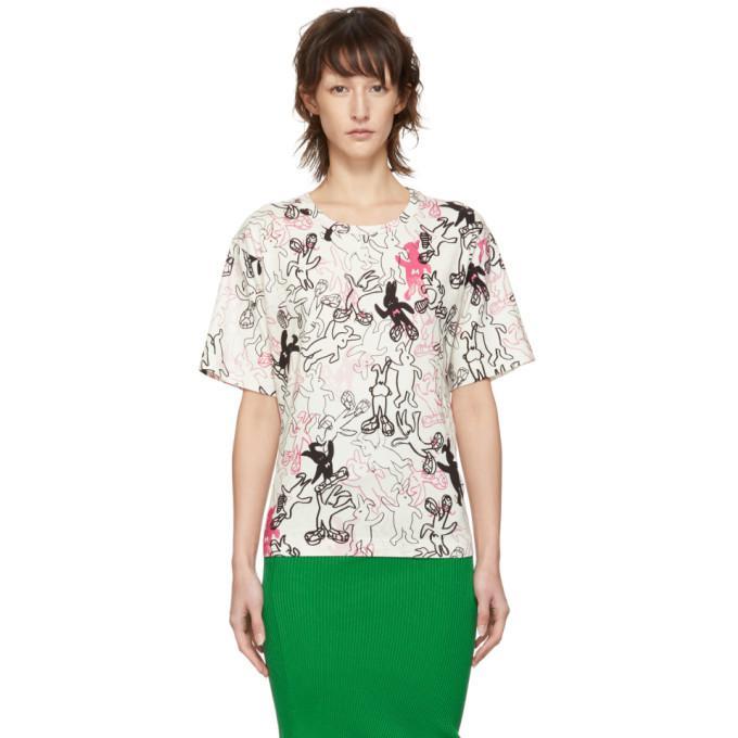 Marni Dance Bunny White And Multicolor Bunny Printed T-shirt In Dbw01 Multi