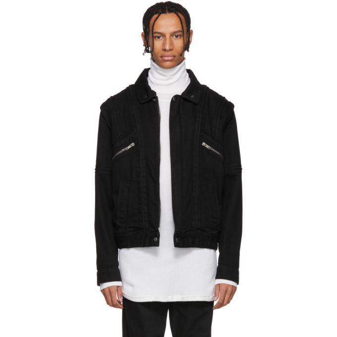 Givenchy Black Denim And Shearling Biker Jacket In 001 Black