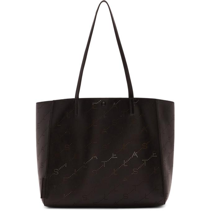Stella Mccartney Black Small Perforated Logo Tote In 1000 Black