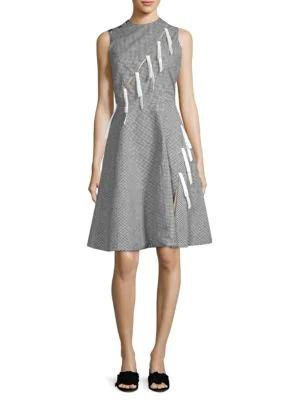 Sandy Liang Marnie Bow Gingham Dress In Black White