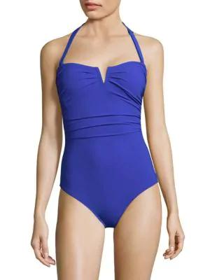 Shan One-piece Les Essentiels Halter Swimsuit In Blue Royal