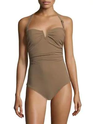 Shan One-piece Les Essentiels Halter Swimsuit In Latte