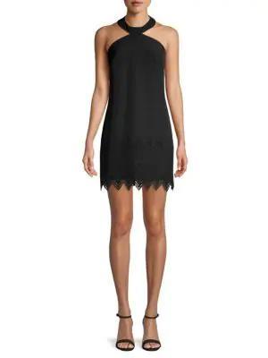 Laundry By Shelli Segal Crepe Laser Cut Hem Dress In Black