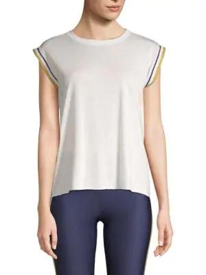 Ultracor Collegiate Cap Sleeve High-low Tee In White Gold