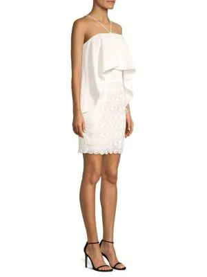 Aidan Mattox Embroidered Popover Halter Dress In Ivory