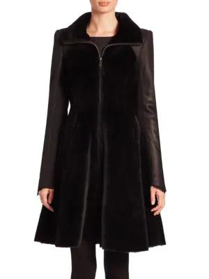 The Fur Salon Shearling A-line Coat In Black