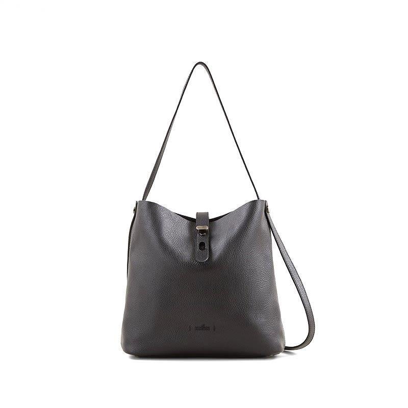Hogan Hobo Iconic M Leather Shoulder Bag In Black