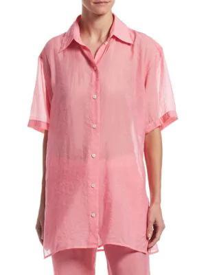 Victoria Beckham Sheer Long-line Blouse In Pink