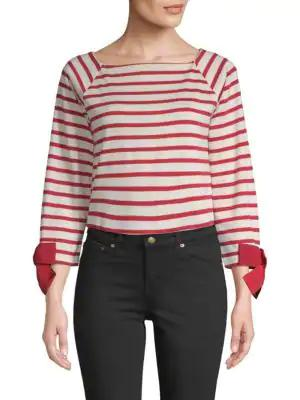Tu Es Mon Tresor Cotton Stripe Tee In Red