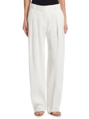 Victoria Victoria Beckham Textured Two-pleat Pants In Ivory
