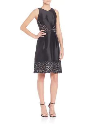 Theia Sleeveless Short Dress In Black