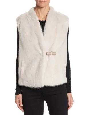 The Fur Salon Julia & Stella Mink Vest In Beige Rose