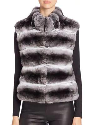 The Fur Salon Quilted Chinchilla Fur Vest In Natural