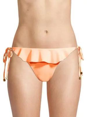 Shoshanna Ruffled Side-tie Bikini Bottom In Grapefruit