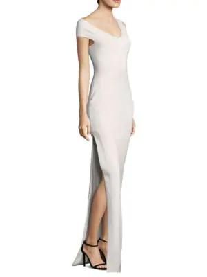 Solace London Mille Crepe Knit Dress In Cream