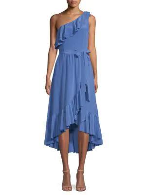 Joie Damica Asymmetrical Silk Wrap Dress In Baja Blue