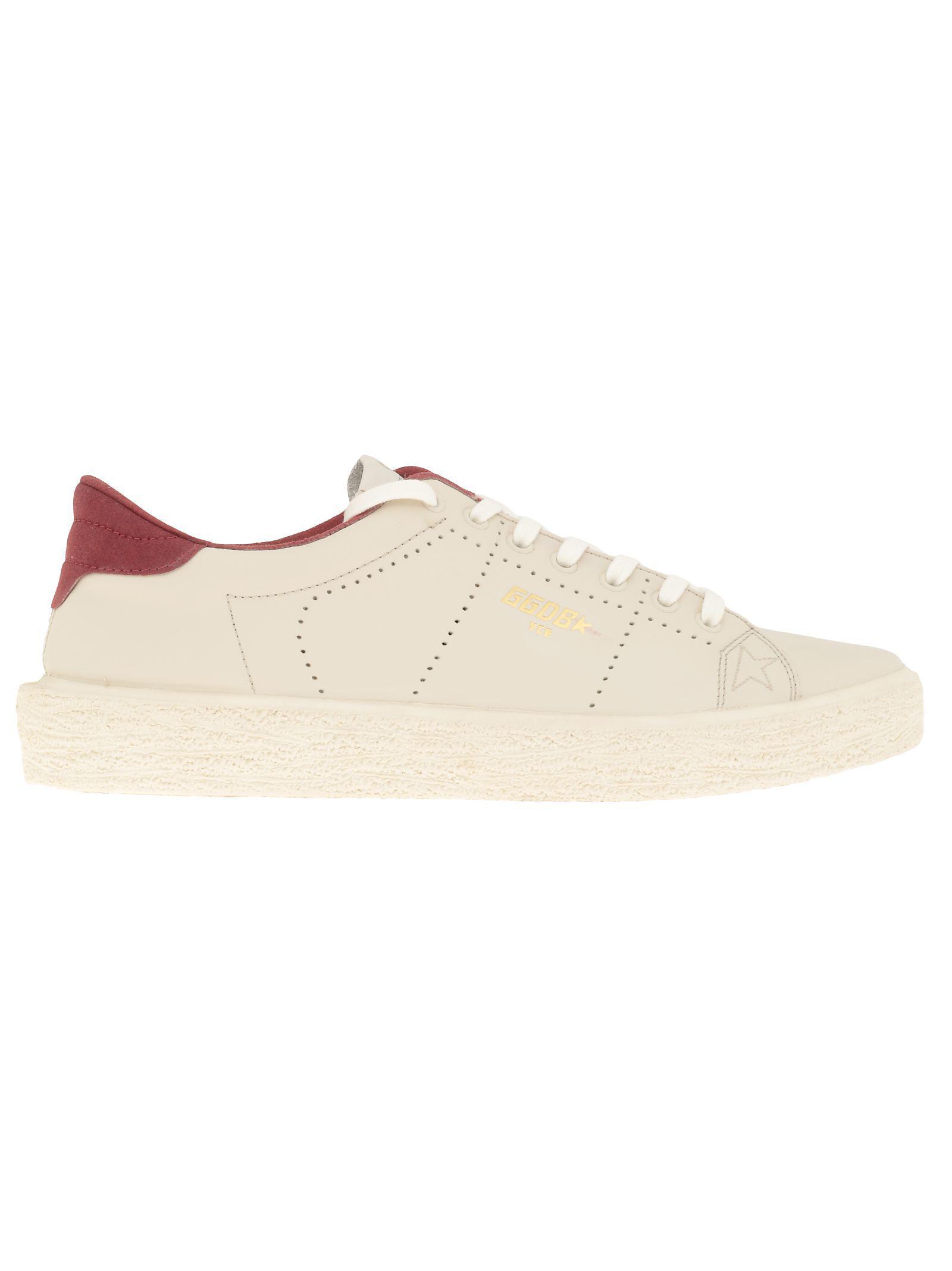 Golden Goose Tennis Sneaker In Cream Leather-cherry
