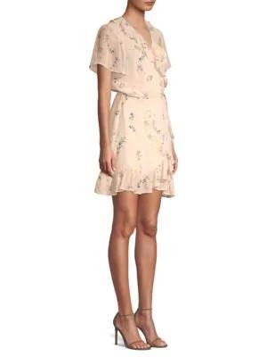 Paige Cardamom Ruffle Wrap Dress In Pink