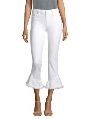 Paige Hoxton High-rise Straight Ruffle Hem Jeans In Crisp White