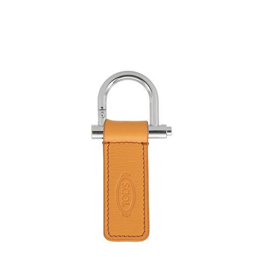Tod's Leather Keychain In Yellow