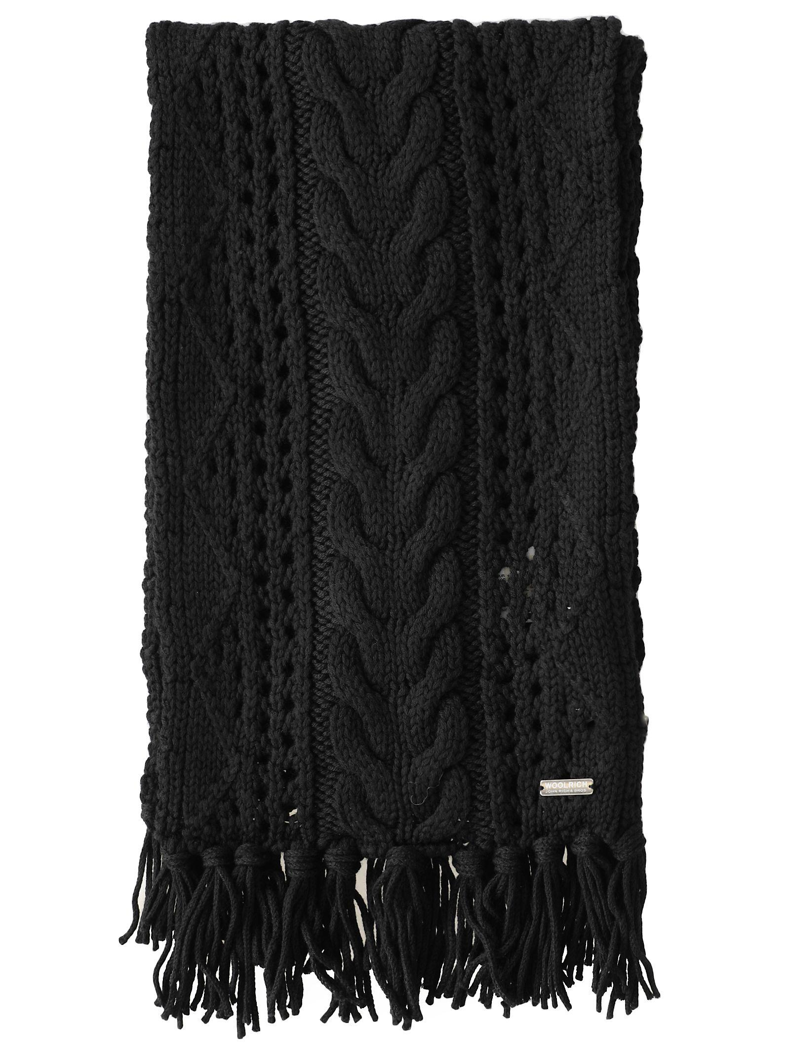 Woolrich Wool Scarf In Black