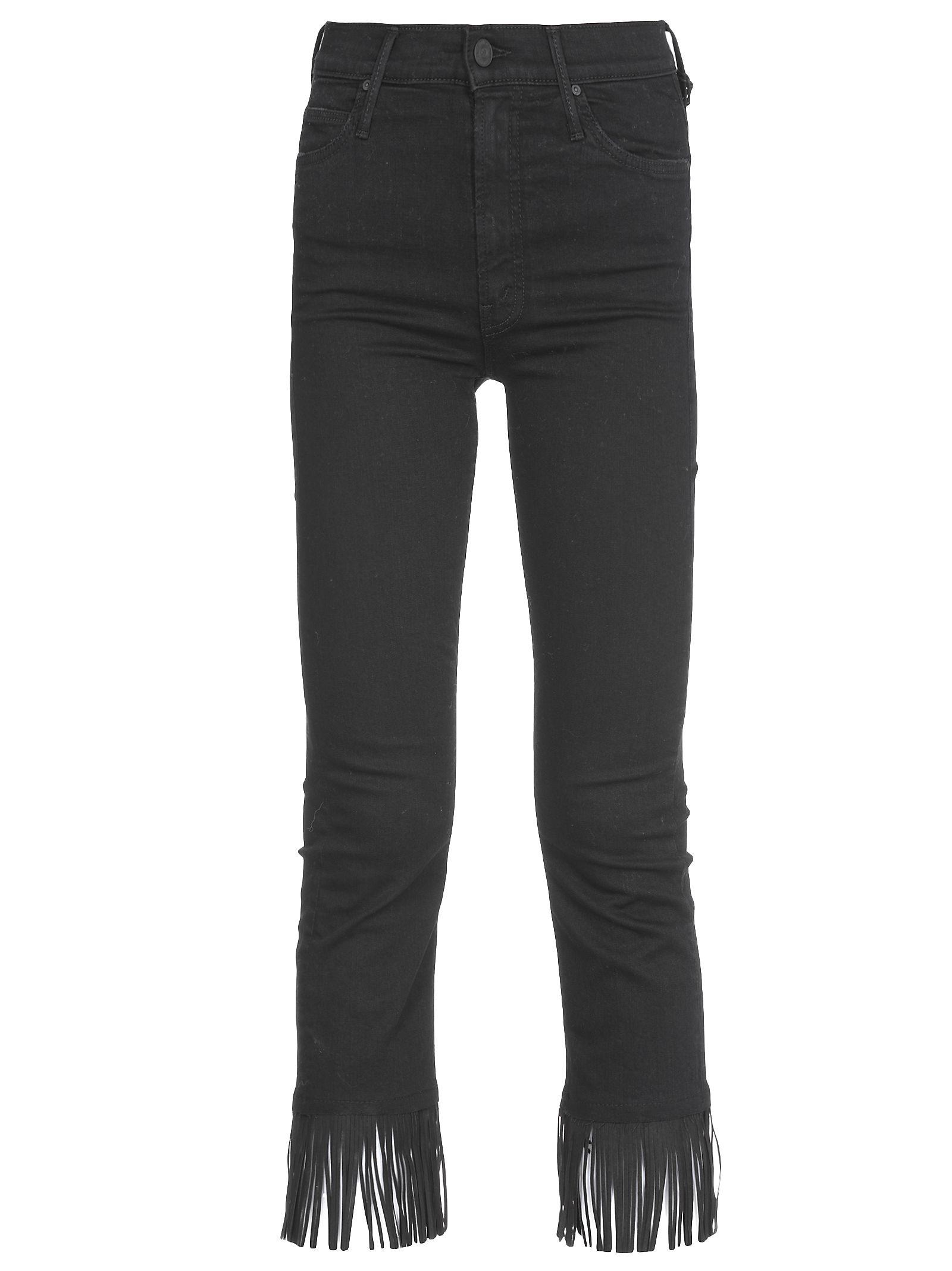 Mother Rascal Night Hawk Crop Fray Jeans In Black