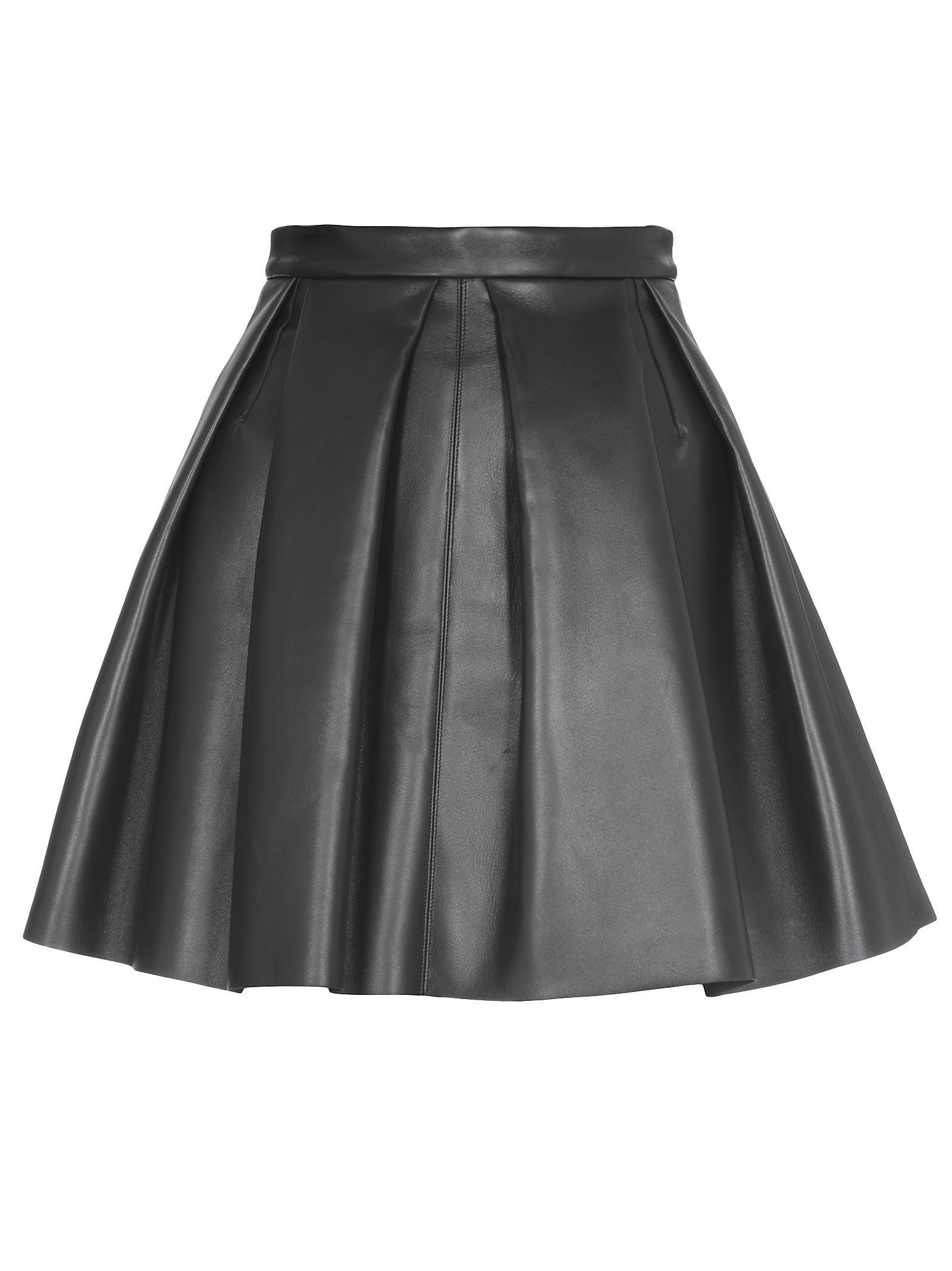 David Koma Leather Skirt In Black