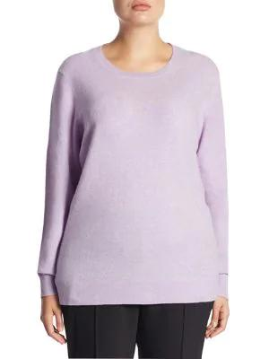 Saks Fifth Avenue, Plus Size Plus Crewneck Cashmere Knitted Sweater In Lavender