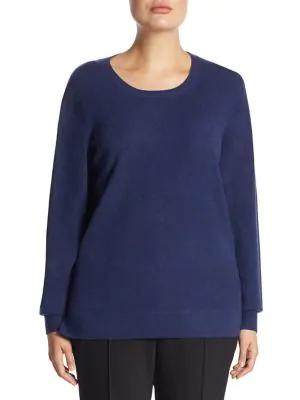 Saks Fifth Avenue, Plus Size Plus Crewneck Cashmere Knitted Sweater In Nightfall