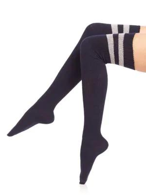 Ilux Brittany Sporty Thigh-high Socks In Midnight
