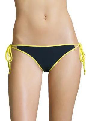 Jonathan Simkhai String Bikini Bottom In Midnight Acid Yellow