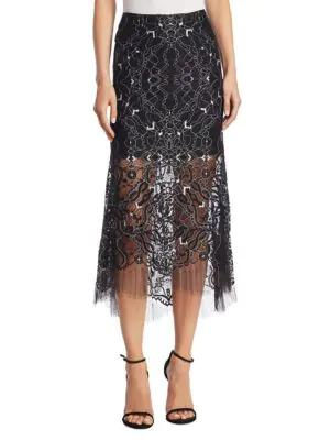 Jonathan Simkhai Colorblock Lace Trumpet Skirt In Black White
