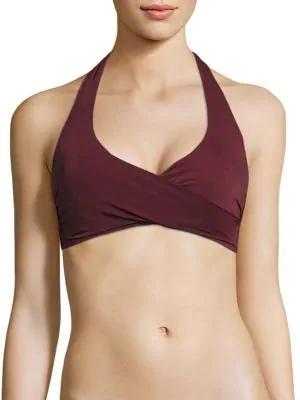 Heidi Klein Body Wrap Bikini Top In Burgundy