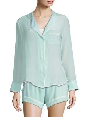 Maison Du Soir Bardot Crepe Pajama Top In Mint