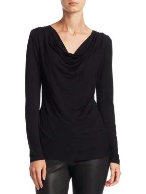 Majestic Soft Touch Cowlneck Top In Noir