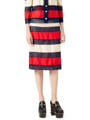 Gucci Silk Twill Skirt In Red White Black
