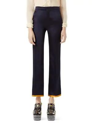 Gucci Duchesse Ankle Pants In Navy Blue Multi