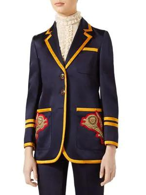 Gucci Embroidered Notched Jacket In Navy Blue Multi