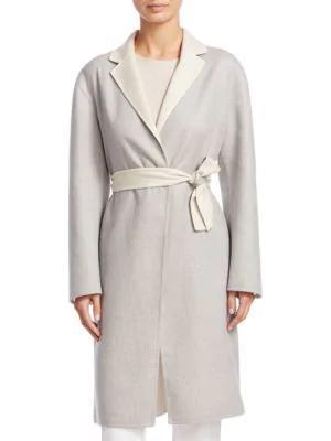 Fabiana Filippi Cappotto Lungo Cash Coat In Beige Grey