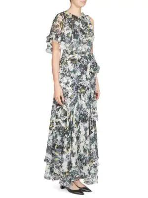 Erdem Sinead Capelet Gown In White Lilac